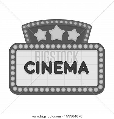 Cinema signboard icon in monochrome style isolated on white background. Films and cinema symbol vector illustration.