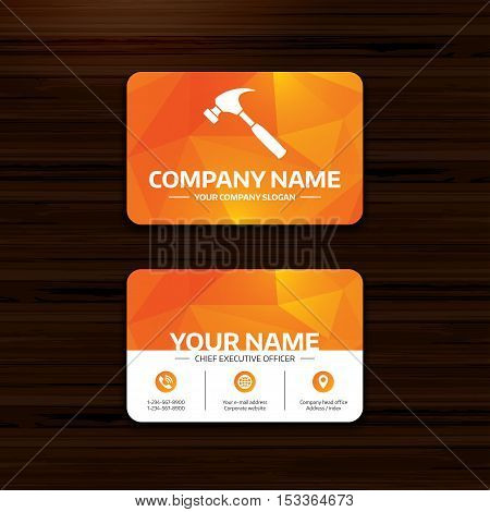 Business or visiting card template. Hammer sign icon. Repair service symbol. Phone, globe and pointer icons. Vector
