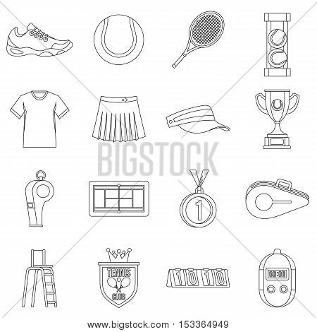 Tennis icons set. Outline illustration of 16 tennis vector icons for web