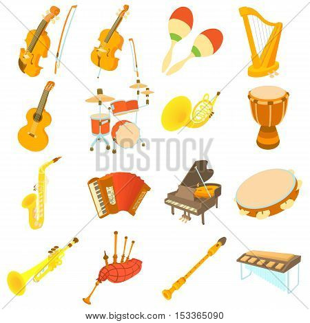 Musical instruments icons set. Cartoon illustration of 16 musical instruments vector icons for web