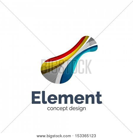 flowing abstract shape, logo template. Colorful unusual business icon