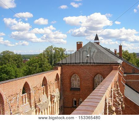 Ancient castle. On the observation deck Dome Cathedral in Tartu