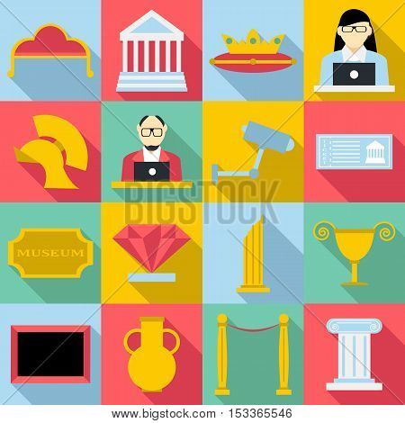 Museum icons set. Flat illustration of 16 museum vector icons for web