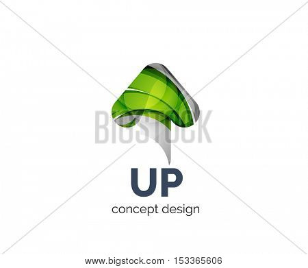 Up arrow logo business branding icon, created with color overlapping elements. Glossy abstract geometric style, single logotype