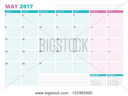 Calendar Planner Template For 2017 Year. May. Business Planner Template. Stationery Design. Week Sta