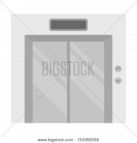 Elevator icon in monochrome style isolated on white background. Hotel symbol vector illustration.