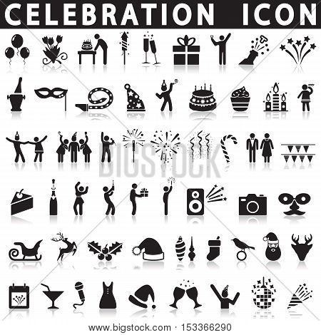 Celebration icons on a white background with a shadow