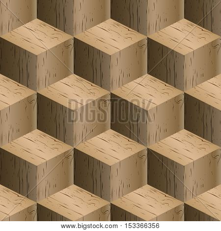 Abstract background seamless pattern of isometric cubes repeating wooden texture vector illustration.