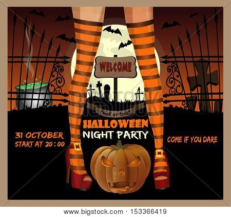 Halloween night party. Sexy female legs in striped stockings on a background of the cemetery. Halloween poster design. Vector illustration