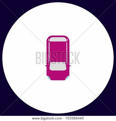 top view car Simple vector button. Illustration symbol. Color flat icon