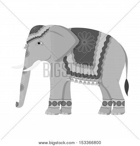 Indian elephant icon in monochrome style isolated on white background. India symbol vector illustration.