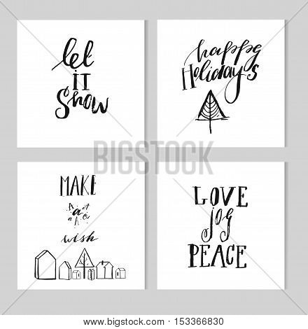 Merry Christmas. Christmas calligraphy. Handwritten modern brush lettering. Hand drawn design elements.Simple black and white Christmas and New year greeting cards collection.