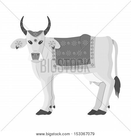 Sacred cow icon in monochrome style isolated on white background. India symbol vector illustration.