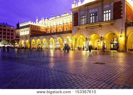 Cloth Hall On The Main Market Square In Krakow, Poland, During Golden Hour