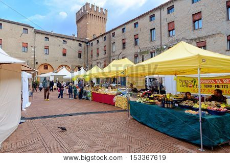 Ferrara Italy - October 15 2016: Market of typical food products which is held weekly in the historic center of the city of Ferrarra