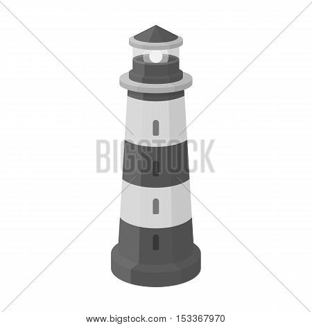 Lighthouse icon in monochrome style isolated on white background. Light source symbol vector illustration