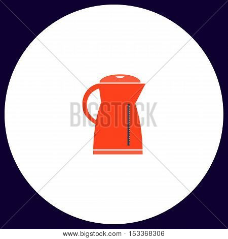 Kettle Simple vector button. Illustration symbol. Color flat icon
