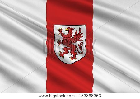 Flag of West Pomeranian Voivodeship or West Pomerania Province in northwestern Poland. 3d illustration
