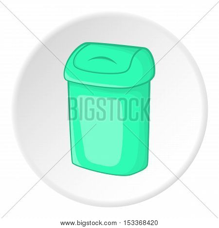 Turquoise trash can icon. Cartoon illustration of turquoise trash can vector icon for web