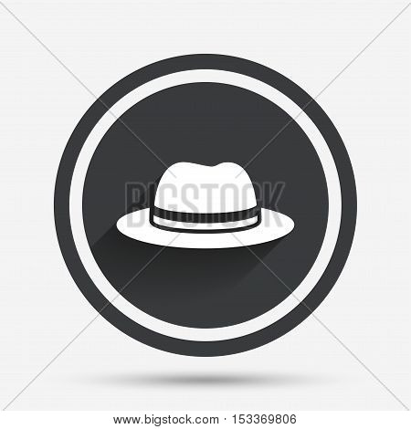 Top hat sign icon. Classic headdress symbol. Circle flat button with shadow and border. Vector