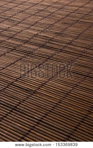 brown bamboo Mat - stand food, close-up, macro