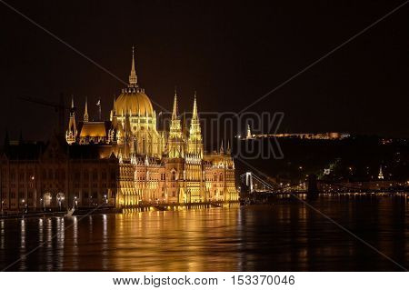 The parliament building Budapest, Hungary in flood