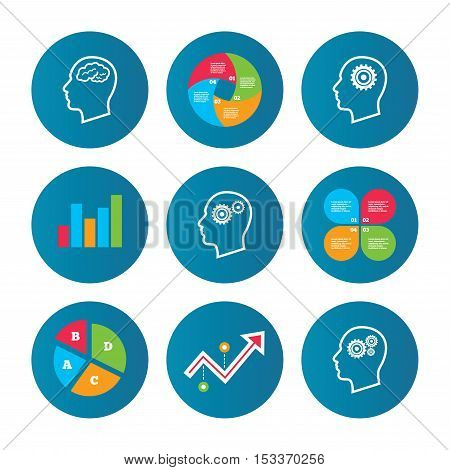 Business pie chart. Growth curve. Presentation buttons. Head with brain icon. Male human think symbols. Cogwheel gears signs. Data analysis. Vector