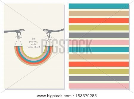Funny, positive card, booklet. Creative card, hands hold a smile in the form of a rainbow.  Motivation quote on the background. Vector.