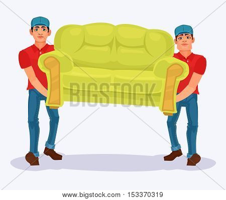 Vector illustration two men carries a sofa