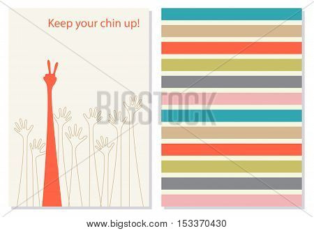 Funny and positive greeting card, booklet. Creative, motivation quote for cards, banners, posters. One red and eight transparent hands on white background. Keep your chin up phrase on the background. Vector. card wish in flat style