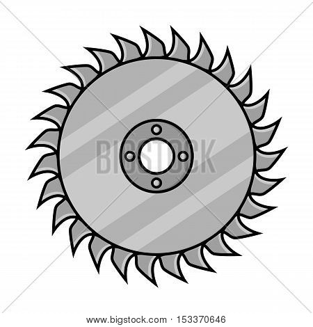 Saw disc icon in monochrome style isolated on white background. Sawmill and timber symbol vector illustration.