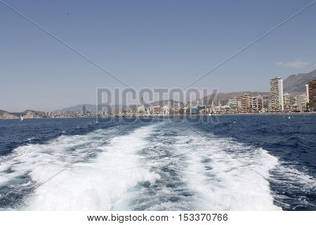 View to the Benidorm city and beach from the Mediterranean sea.