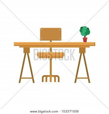 wooden desk with chair and plant in a pot  over white background. workplace design. vector illustration
