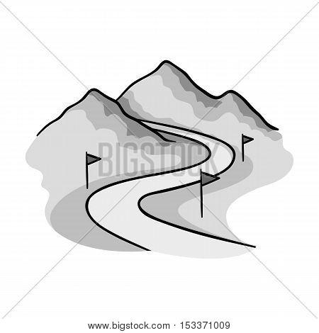 Ski track icon in monochrome style isolated on white background. Ski resort symbol vector illustration.