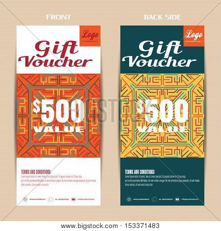 Vector blank of gift voucher on the white and dark turquoise background with pattern.