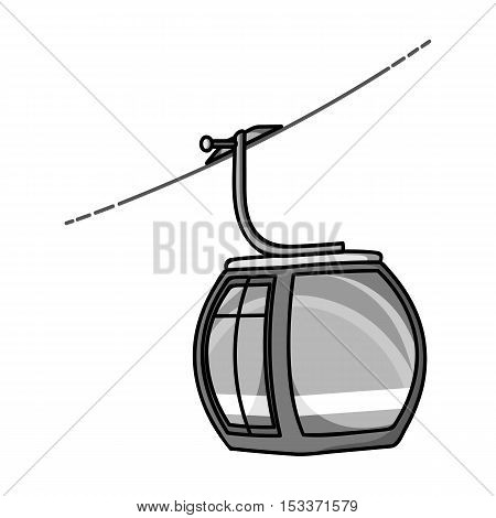 Funicular icon in monochrome style isolated on white background. Ski resort symbol vector illustration.