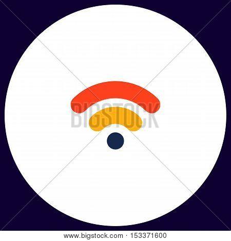 Wifi signal Simple vector button. Illustration symbol. Color flat icon