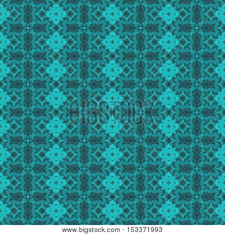 Deep cyan design with repeating ornaments seamless wallpaper