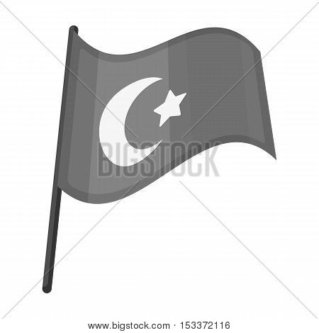 Flag of Turkey icon in monochrome style isolated on white background. Turkey symbol vector illustration.