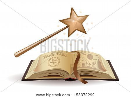 Magic wand and a textbook on black magic. Open book. Fairy tales. Scary Tales for children