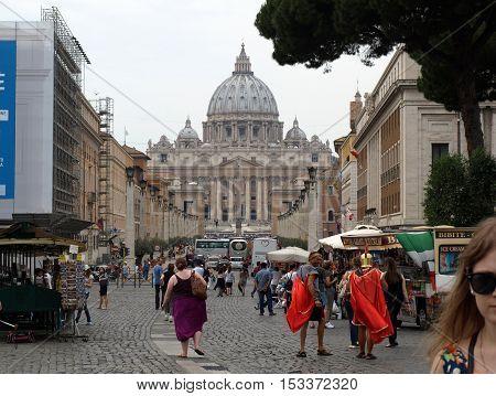 ROME ITALY - JUNE 12 2015: View of Basilica of Saint Peter and Street Via della Conciliazione Rome Italy