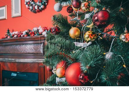 Beautiful New Year Room With Decorated Christmas Tree And Fireplace. The Idea For Postcards. Soft Fo