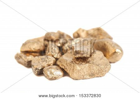 Golden nuggets isolated on a white background