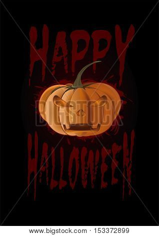 Halloween design. Jack-o'-lantern on a black background. Poster with pumpkin and inscription - Happy Halloween