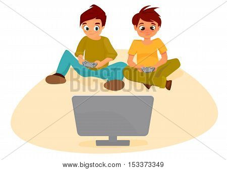 video games addiction. Boys teenagers with remote control in hand playing a video game console. Young boys enjoying computer game, playing with joystick