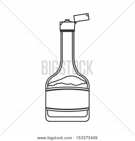 syrup bottle container with open top over white background. vector illustration