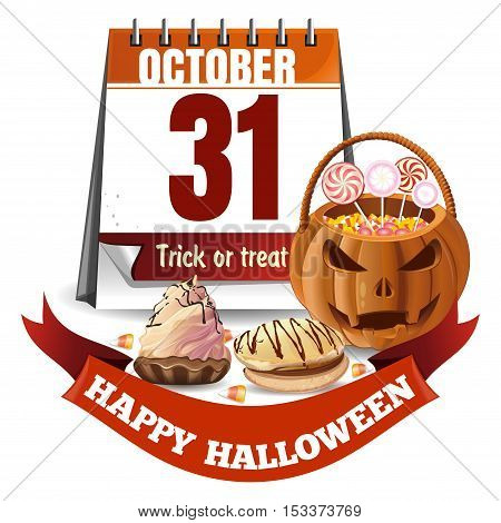 Halloween calendar and basket in the form of a pumpkin with candies. Trick or treat