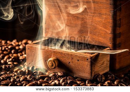 Fragrance of roasted coffee seeds on the coffee beans