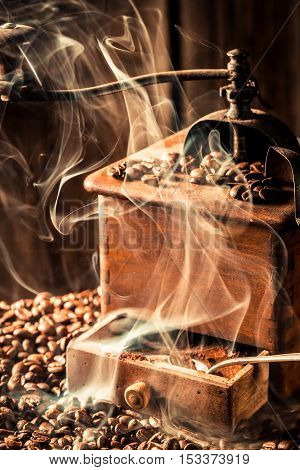 Fragrance of fresh coffee grains on the coffee beans