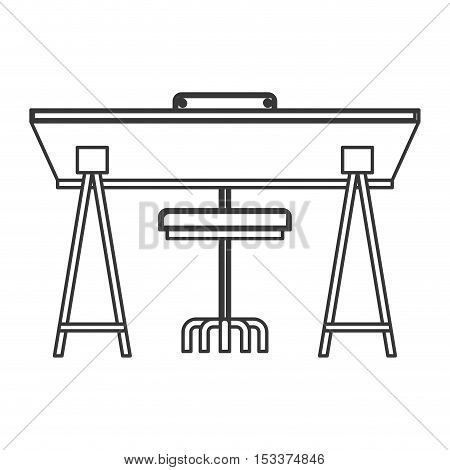 silhouette of wooden desk with chair icon over white background. workplace design. vector illustration